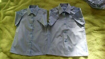 3x Blue Short Sleeve Girl school shirts from Marks And Spencer Age 5-6