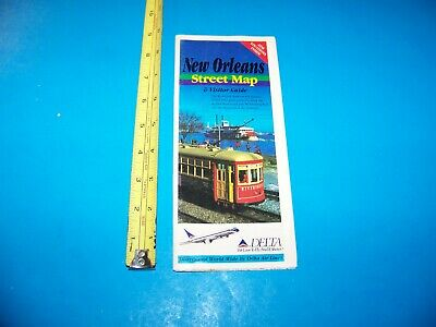 """New Orleans Street Map & Visitor Guide from Delta  Vintage """"Great For Framing!"""""""