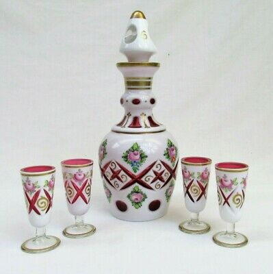 Czech Glass Decanter cordial white cut to cranberry bohemian handpainted flower