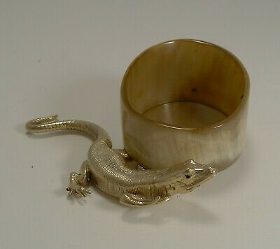 Antique English Horn & Gold Plated Novelty Desk Tidy - Lizard With Glass Eyes c.