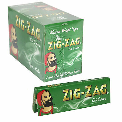 Full Box of 100 Booklets Zig Zag Tobacco Rolling Papers Green Cut Corner