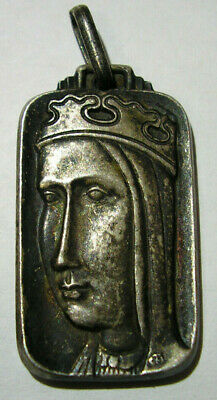 Catholic Art Medal Virgin Mary Jesus w/Sacred Heart Thick Silver Medieval Style