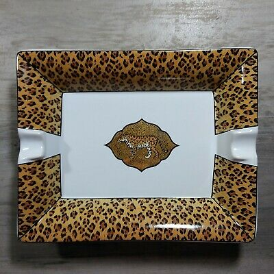 Lynn Chase Amazonian Jaguar 22K Gold Porcelain Cigar Ashtray 1994