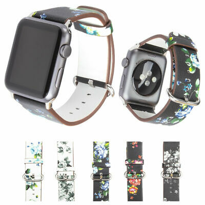 Flower Design Leather Wrist Watch Bands 38Mm 42Mm For Apple Watch Series 4 3 2 1