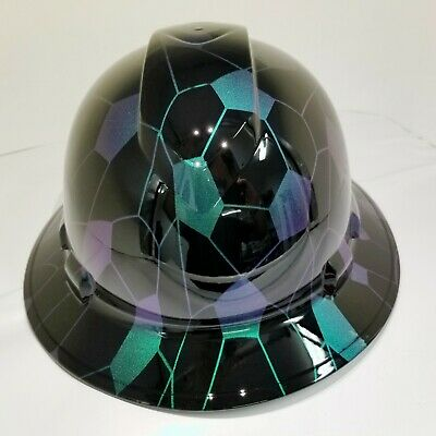 FULL BRIM Hard Hat custom hydro dipped COLOR SHIFT HEX CAMO BLACK SUPER SICK