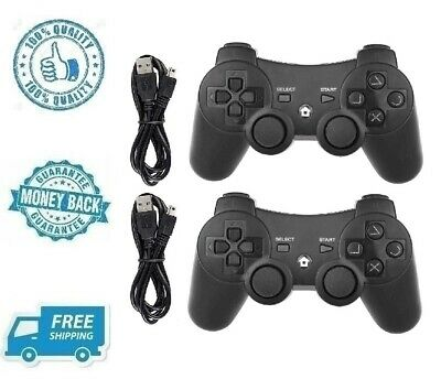 New Black PS3 Wireless Controller Playstation 3 Dual Shock with Charging Cable