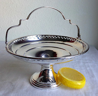 STERLING SILVER Compote W/ Handle Elgin, Reticulated Rim El-Sil-Co. 72909
