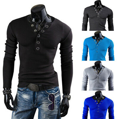 Stylish Mens V Neck Long Sleeve Muscle T-shirt Slim Tops Henley Shirt Blouse Tee
