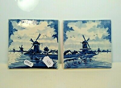 Two Delft Hand Painted Vintage Tiles of Windmills Holland 13.2cm Hanging Holes