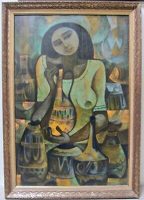 ROGER SAN MIGUEL Original Signed Oil Modernism Filipino Woman Pottery Nude Large