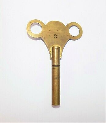 Vintage No:8 Brass Bracket Clock Winding Key Winder