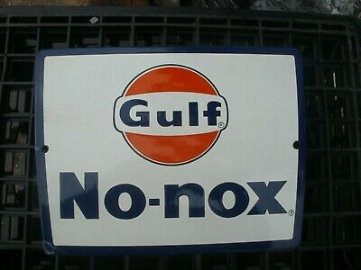 Vintage Gulf No- Nox Porcelain  Gas Pump Sign Looks New