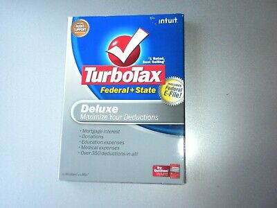 Intuit TURBOTAX DELUXE 2008 Federal & State CDs for Windows & Mac
