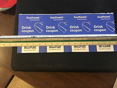 Southwest Airlines Drink Coupons (4) Exp MAY/31/2020