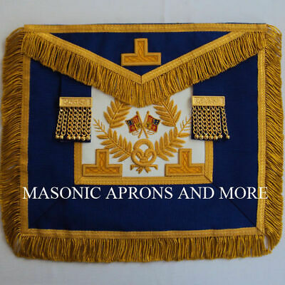 Grand Officer Full Dress Apron, (Lambskin)(Hand Embroidered Levels)(MA4049)
