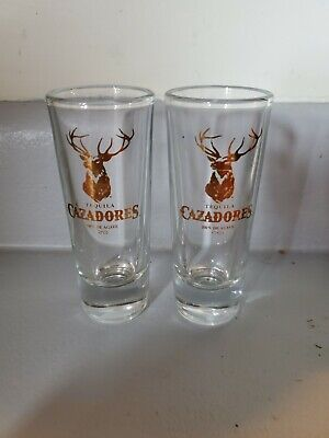 Set of 2 Tall Double Shot Glasses By Cazadores Tequila.