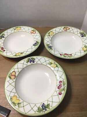 Set of 3 Mikasa Optima FRUIT RAPTURE Soup Bowls Pattern