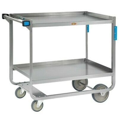 Lakeside 953 Heavy-Duty Stainless Steel Two Shelf Traditional Utility Cart - 48""