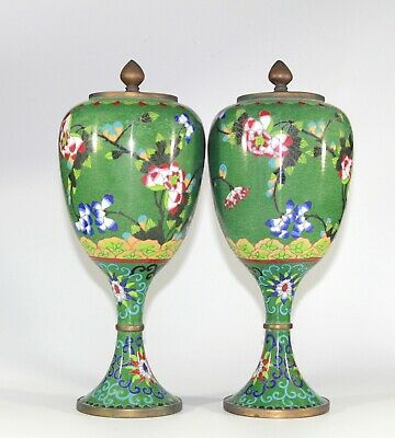A pair 19th/20th C Chinese cloisonne vases or Dou 1099
