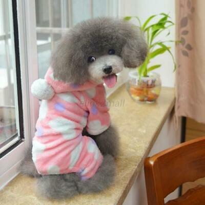 Small Pet Dog Cat Fleece Winter Pajamas Clothes Puppy Warm Jumpsuit Hoodie Coat