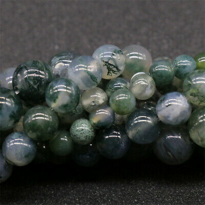 Natural Moss Agate Loose Beads Diy Accessories Lots Craft Stone Top Charm Spacer
