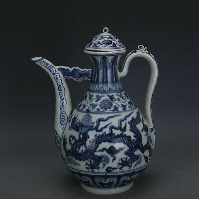 Vivid Chinese Ming Blue White Porcelain Dragon Teapot