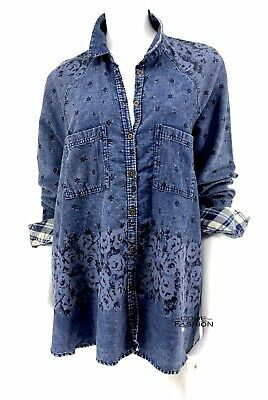 New Free People Chambray Floral Plaid Flannel Button Down Shirt SZ Large Top