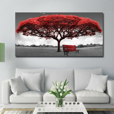 Modern Red Tree Canvas Oil Painting Wall Art Home Decor Picture Print Decor