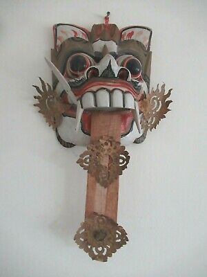 Vintage Wooden Wall Hung Chinese Face Mask