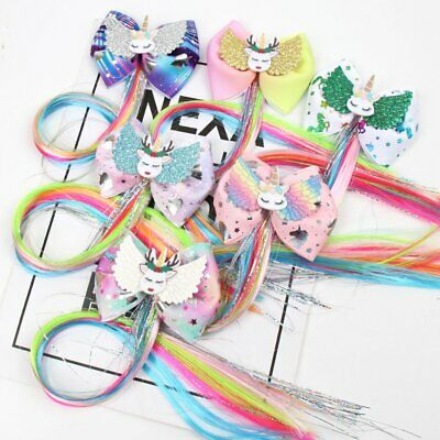 Girls Hair Clip Handmade Unicorn Glittler Wings Hairpins Colorful Long Pigtails