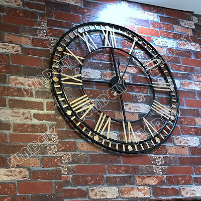 Extra Large 80cm Black and Gold Metal Rustic Wall Clock Skeleton Roman Numerals