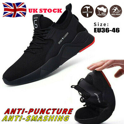 UK Men Safety Shoes Trainers Steel Toe Work Boots Sports Hiking Shoes Sneakers
