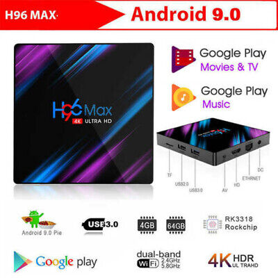 2019 Latest H96 MAX RK3318 Android 9.0 4G+64G Quad Core 4K BT 4.0 Top LED TV Box