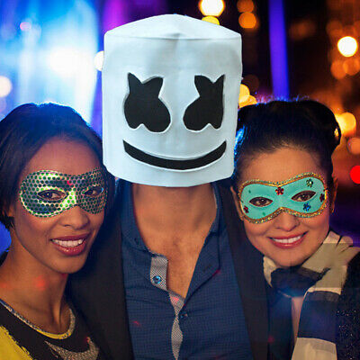MarshMello DJ Mask Full Head Helmet Halloween Cosplay Mask Bar Music Marshmallow