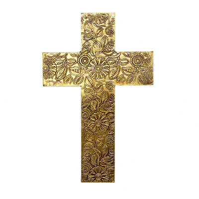 Wooden Brass FTD Cross Hangings 10 Inch Wall Cross Hand Carved Wood Wall Hanging