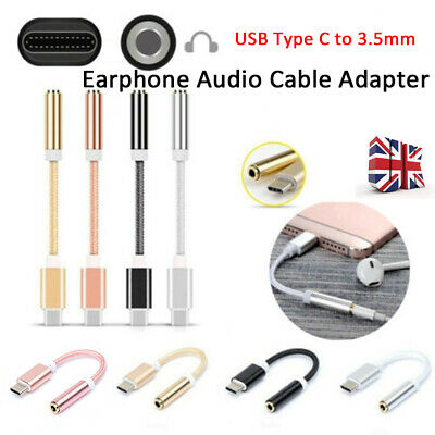 USB Type C to 3.5mm Aux Audio Jack Headphone Cable Adapter For Huawei Xiaomi-RO