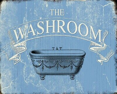 The Washroom Toilet Bathroom Vintage Style Retro Metal Sign Tin Door Plaque 818
