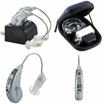 A Pair Rechargeable Digital Hearing Aid Tone Amplifier BTE Aids Sound In The Ear