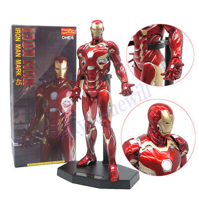 "CRAZY TOYS Marvel Super Hero Avengers IRON MAN MK45 12"" FIGURE 1/6TH Statue Gift"