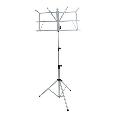 Metal Adjustable Sheet Music Stand Holder Folding Foldable with Bag Silver