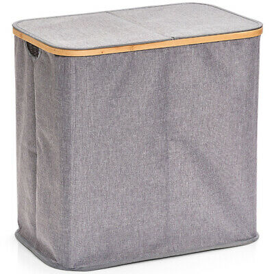 Laundry Basket Hamper Washing Clothes Storage Box Bin With Lid 2 Compartments