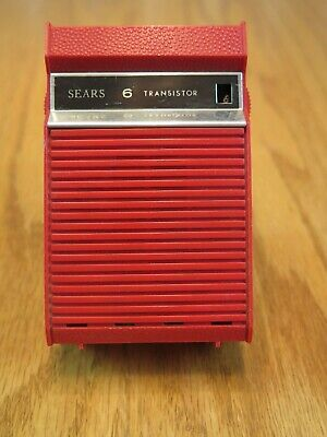 Vintage Sears 6 Transistor Radio 6201? Hong Kong Red Tested Works