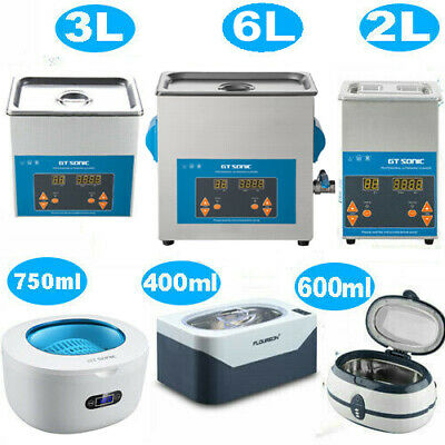 Stainless Ultrasonic Cleaner Ultra Sonic Bath Cleaning Timer Heating 400ML~6L