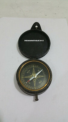 Kelvin & Hughes London 1917 Antique Brass Style  Compass  with leather  box