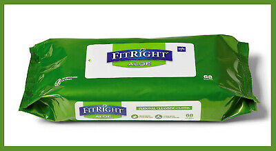 * ONE Pack (68 Cloths) FitRight Aloe Personal Cleansing Wipes
