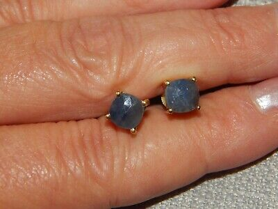 Madagascar Blue Sapphire Cushion Stud Earrings-2.850Cts-With 14K Gold