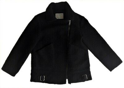 ZARA Girls Biker Coat Jacket Black Wool Winter Hip Length 8 13-14 y £39.99