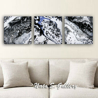Abstract Acrylic Pour Painting Triptych Art Painting Black / White Pouring art
