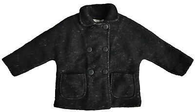 ZARA Girls BLACK Coat Jacket Knitted Faux Shearling Wool Winter  4 11-12 y £39