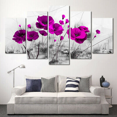5Pcs Abstract Flower Canvas Print Art Painting Wall Picture Modern Home Decor !